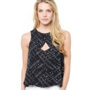Free People Black and White Keyhole Boho Tank